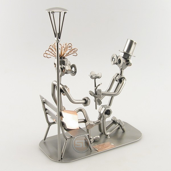 Steelman lovers Marriage Proposal metal art figurine