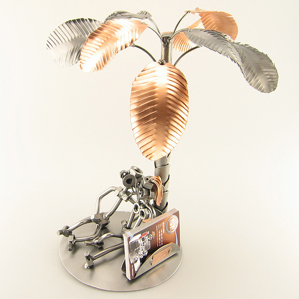 Steelman and a Steelgirl on a Sunset Beach metal art figurine with a Business Card Holder