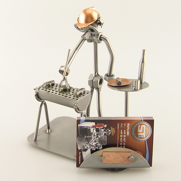 Steelman grilling barbecue metal art figurine with a Business Card Holder
