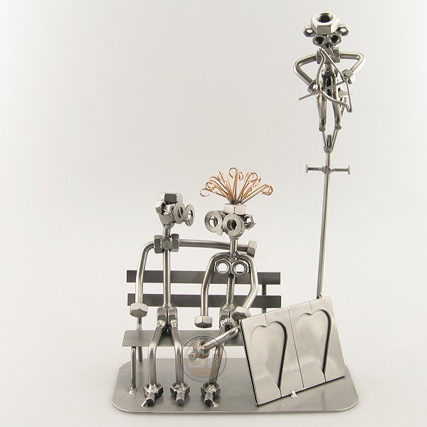 Steelman and a Steelgirl with Cupid metal art figurine with Picture Frame