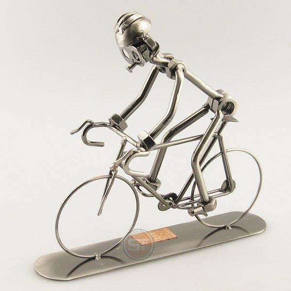 Steelman on a Racing Bike metal art figurine