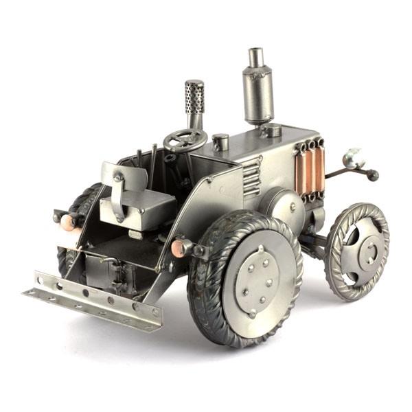 Bulldog Tractor metal art figurine