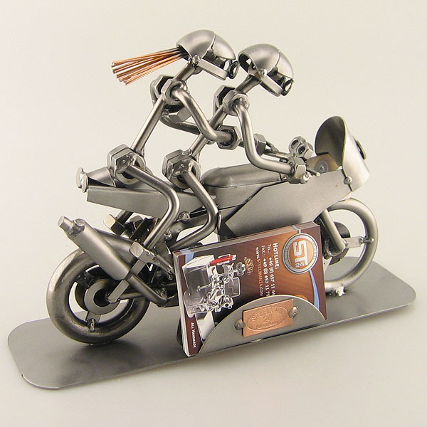 Steelman and a Steelgirl as a Racing Motorbike Duo metal art figurine with a Business Card Holder