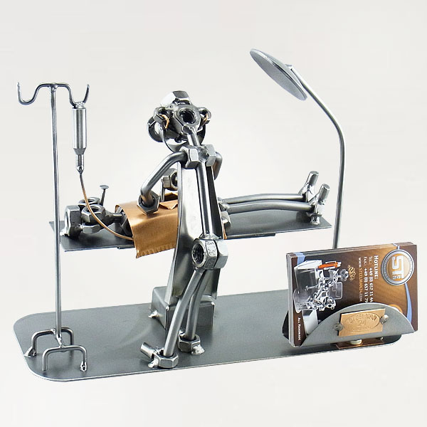 Steelman Surgeon performing a surgery on a patient metal art figurine with a Business Card Holder
