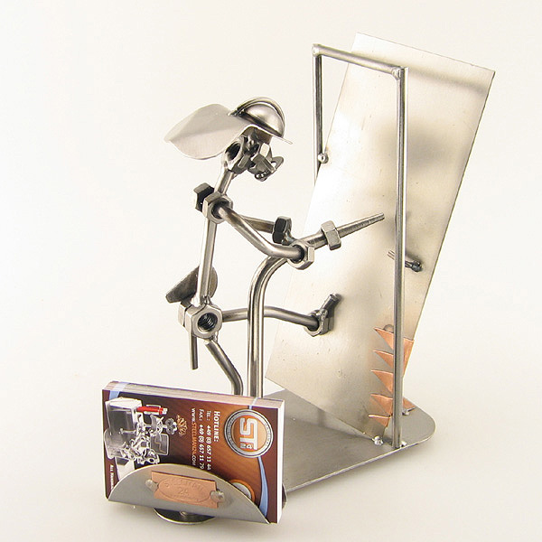 Steelman Fireman holding a hose while knocking down a door metal art figurine with a Business Card Holder