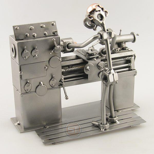 Steelman Lathe Operator metal art figurine