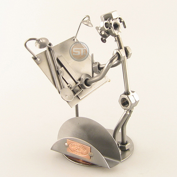 Steelman Architect working on a plan metal art figurine with Business Card Holder