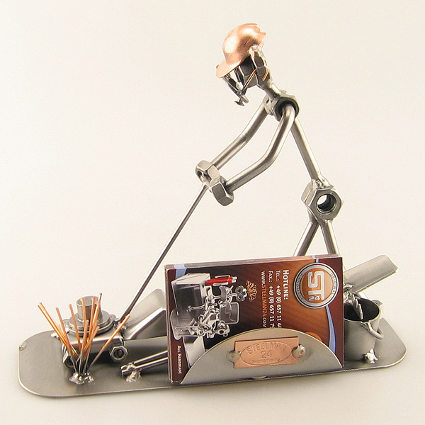 Steelman Landscaper mowing the lawn metal art figurine with a Business Card Holder