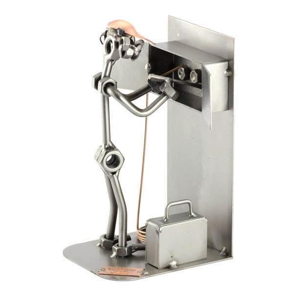 Steelman Electrician working on the fuse box metal art figurine