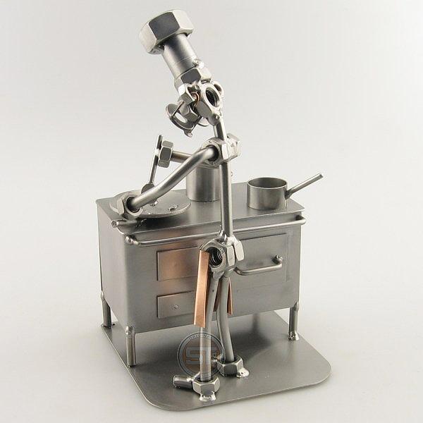 Steelman Chef sautéing and boiling metal art figurine