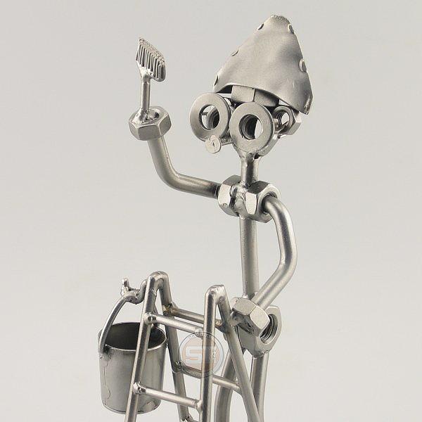 Steelman Painter on a ladder holding a paintbrush metal art figurine