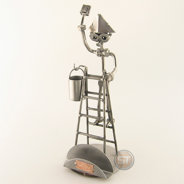 Steelman Painter on a ladder holding a paintbrush metal art figurine with Business Card Holder