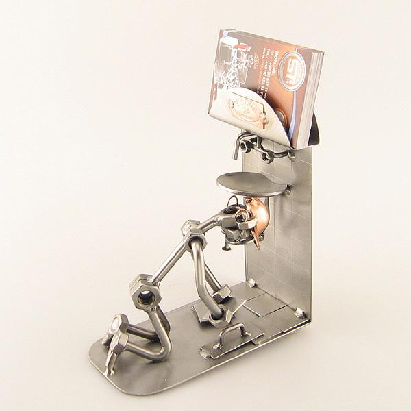 Steelman Tiler tiling a bathroom floor metal art figurine with a Business Card Holder