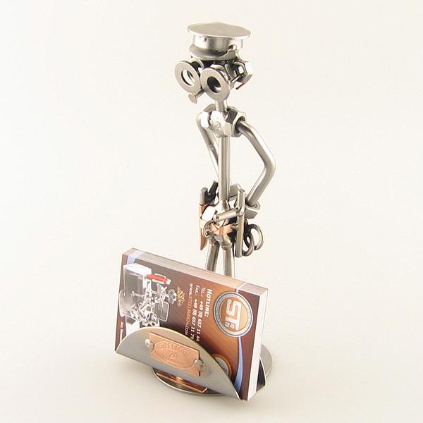 Steelman Policeman metal art figurine with a Business Card Holder