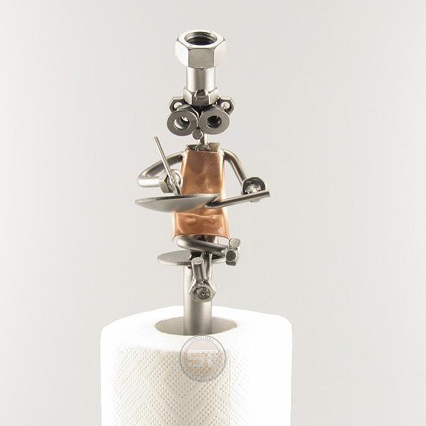 Steelman Cook frying metal art figurine with a Paper Towel Holder