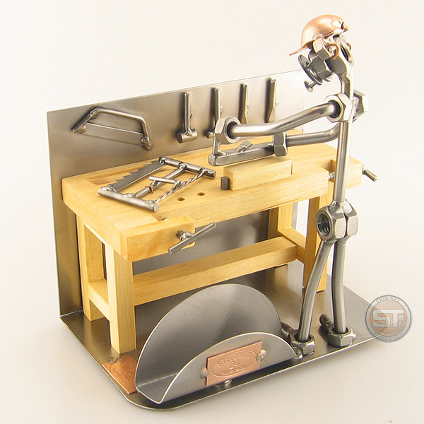 Steelman Carpenter at his workbench metal art figurine with a Business Card Holder