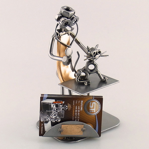 Steelman Vet giving an injection to a dog metal art figurine with a Business Card Holder