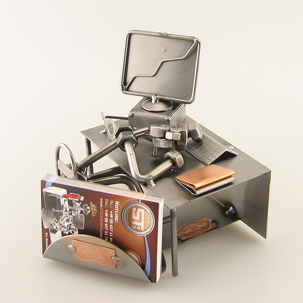 Steelman sleeping on his office desk metal art figurine with a Business Card Holder