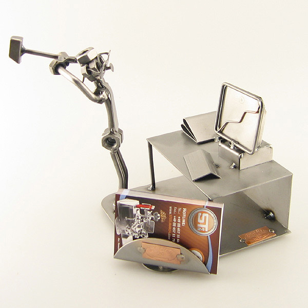 Steelman holding a hammer about to smash a computer metal art figurine with Business Card Holder