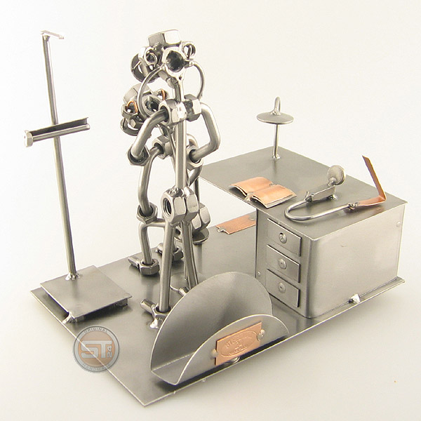 Steelman Doctor with a patient metal art figurine with a Business Card Holder