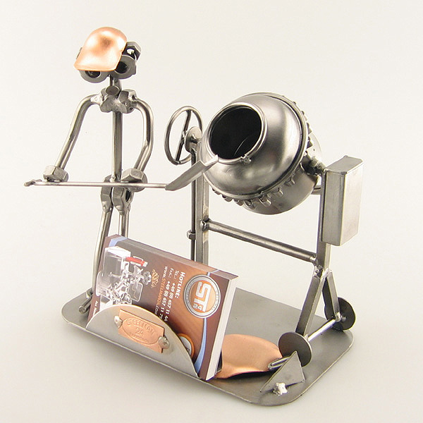 Steelman Cement Mason mixing cement metal art figurine with a Business Card Holder