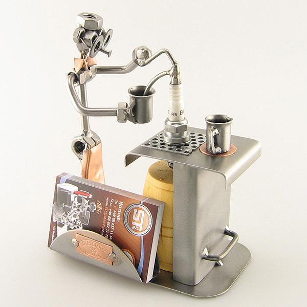 Steelman Bartender serving drinks metal art figurine with a Business Card Holder