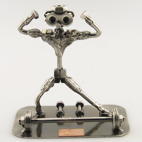 Strong SteelMan flexing his muscles metal art figurine
