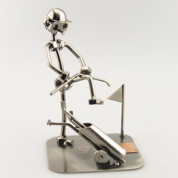 Frustrated Steelman Golfer Bending His Club over his knee metal art figurine