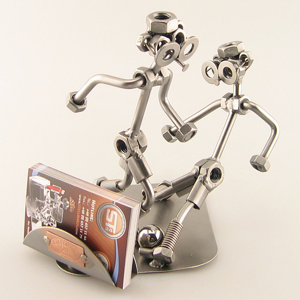 Two Steelman in a soccer match metal art figurine with a Business Card Holder