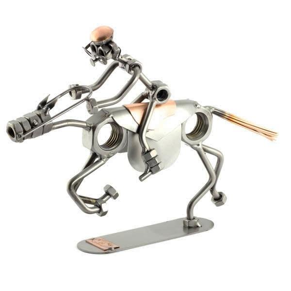 A photo of a Steelman riding a galloping horse metal art statue