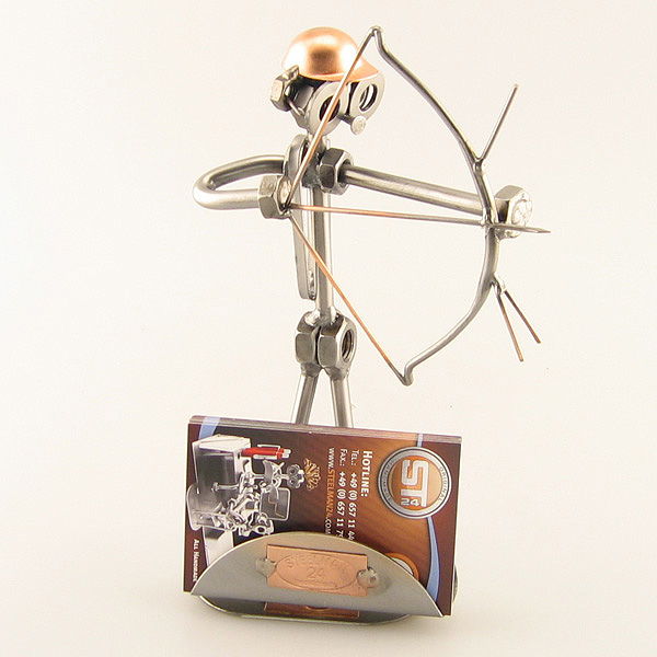 Steelman Archer holding a bow and arrow metal art figurine with Business Card Holder