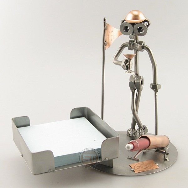 Steelman golfer metal art figurine with a Desk Organizer