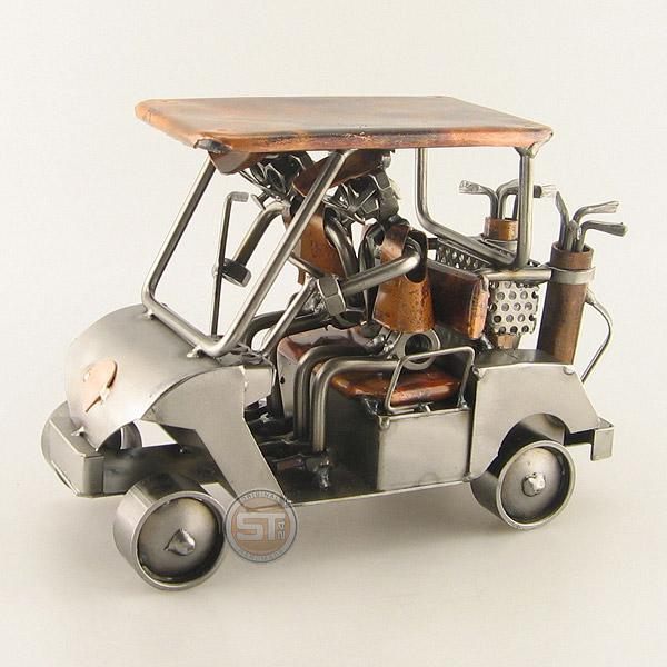 Two Steelman in a Golf Cart metal art figurine