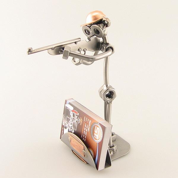 Steelman Hunter aiming his gun metal art figurine with a Business Card Holder