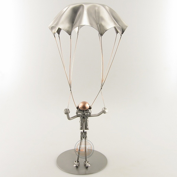 Steelman Sky Diver with his parachute metal art figurine