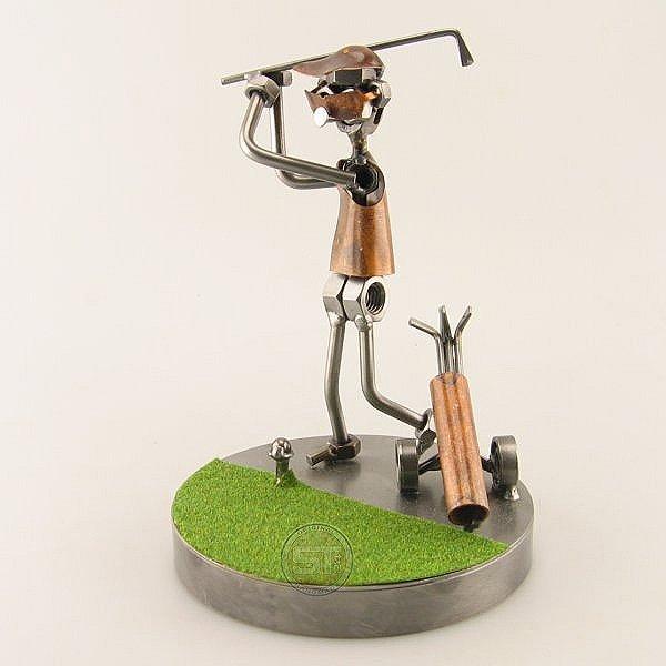 Steelman doing a Golf Drive on the Green metal art figurine
