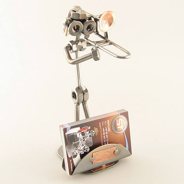 Steelman Trombonist playing his trombone metal art figurine with a Business Card Holder