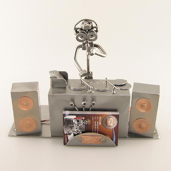 Steelman DJ on the turntables metal art figurine with a Business Card Holder