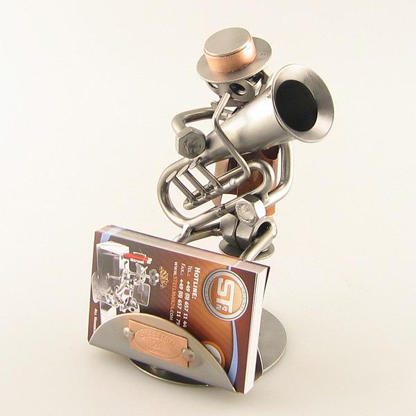 Steelman Tubist playing his tuba metal art figurine with a Business Card Holder