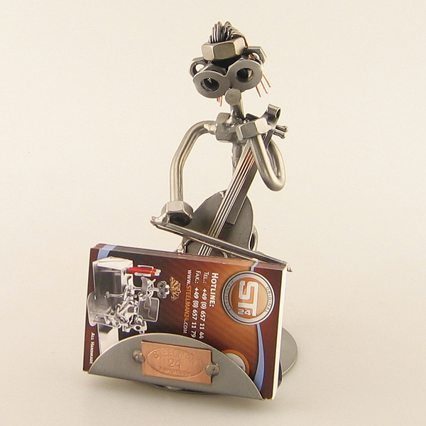Steelman Cellist playing cello metal art figurine with a Business Card Holder