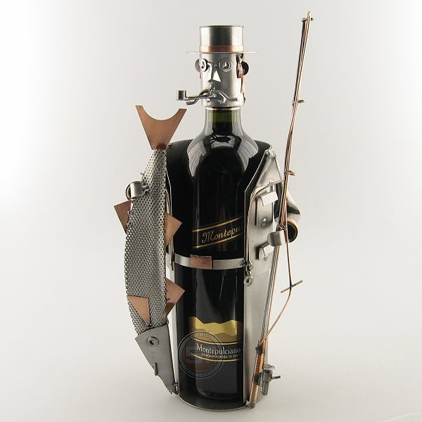 Fisherman Wine Bottle Holder metal art