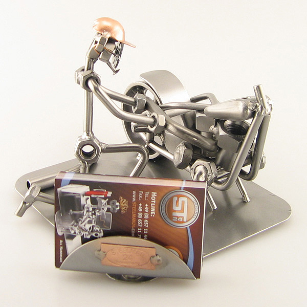 Steelman Motorcycle Mechanic fixing a motorcycle metal art figurine with a Business Card Holder