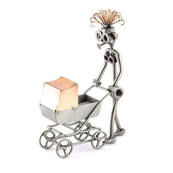 Female Steelman pushing a baby Carriage metal art figurine