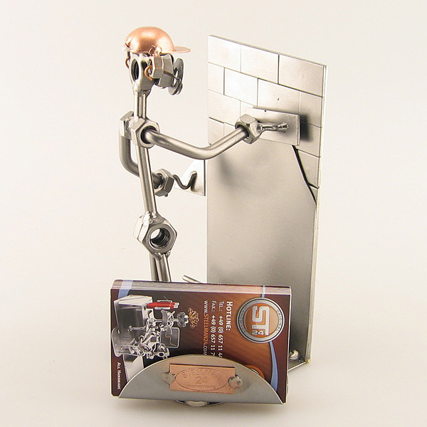 Steelman Plasterer working on a wall metal art figurine with a Business Card Holder