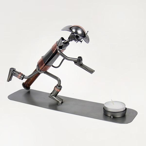 Steelman Fireman metal art figurine with a Tealight Candle Holder
