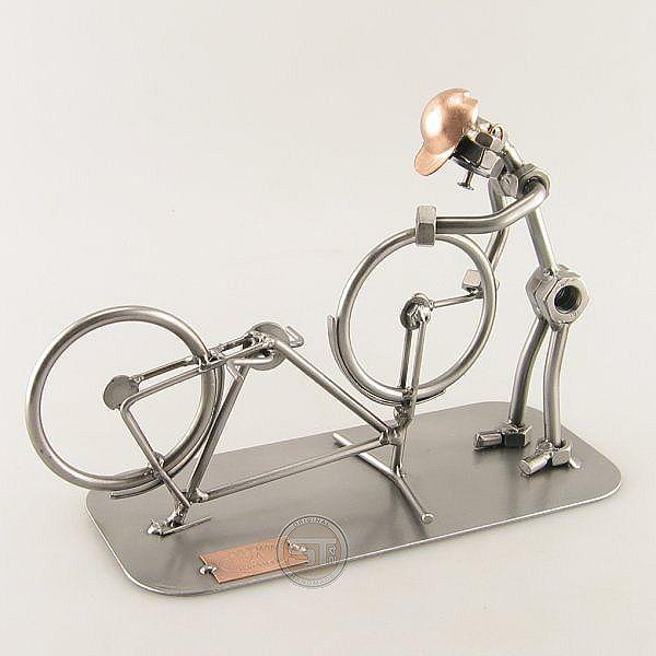 Steelman Bicycle Mechanic fixing a bike metal art figurine