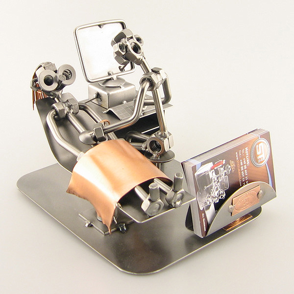 Steelman Gynaecologist doing an ultrasound to a patient metal art figurine with a Business Card Holder