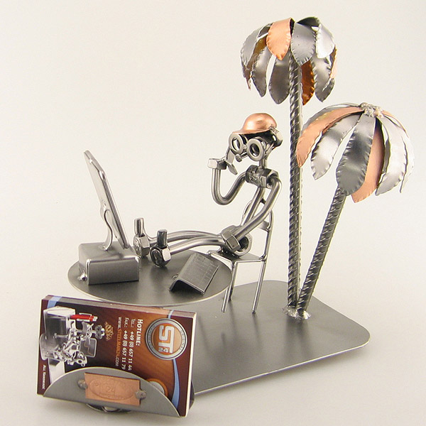 Steelman in a beach office under palm trees metal art figurine with Business Card Holder