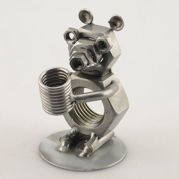 Bear metal art figurine with a Pen Holder