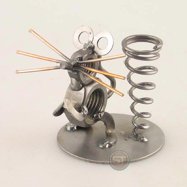 Mouse metal art figurine with a Pen Holder